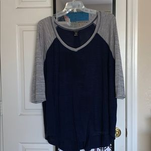 Grey and Navy baseball tee!